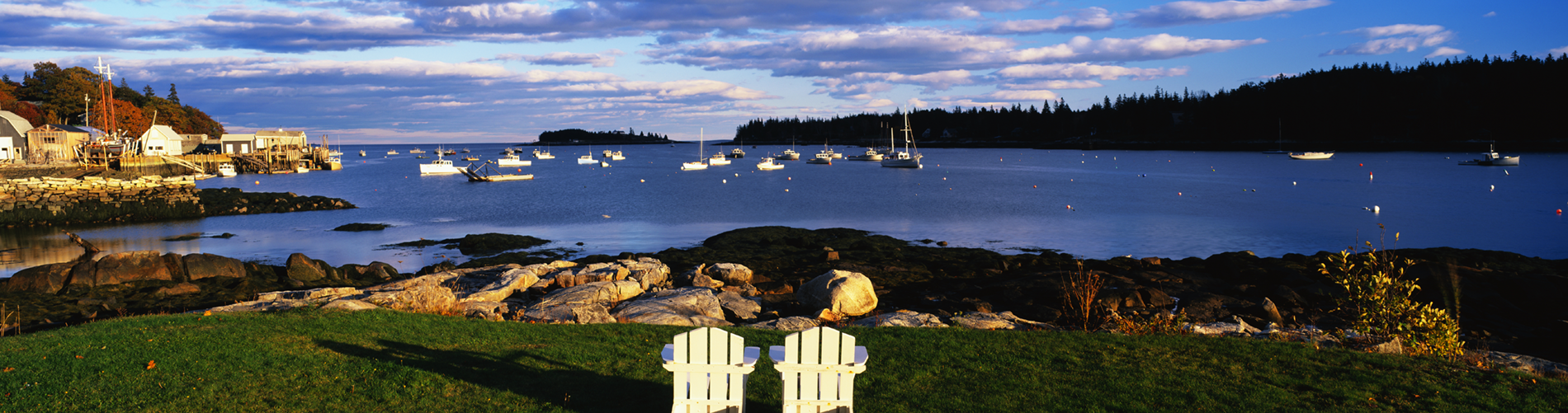 Lawn Chairs and Harbor at Lobster Village